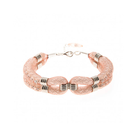 This rose gold effect mesh bracelet called 'Clove Cuff' is a lovely addition to the wardrobe. Its pretty contemporary design is easy to wear at any age and comes with a 3cm extension chain for versatile adjustment on your arm.