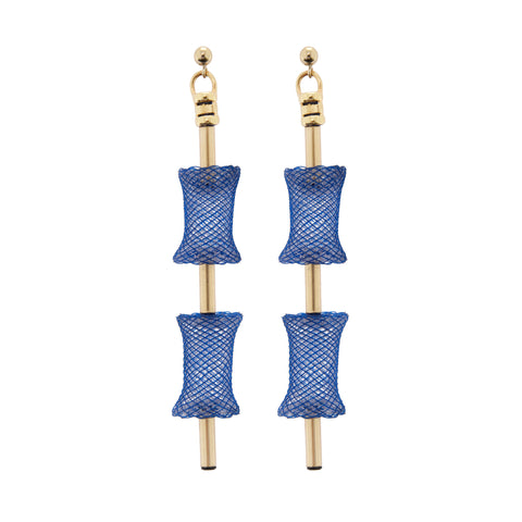 Double Turtle roll earrings are made with rich navy tones, all finished in luxurious, hard-wearing, 14kt gold fill finishings.