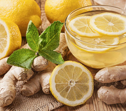 lemon, ginger, honey, and mint tea