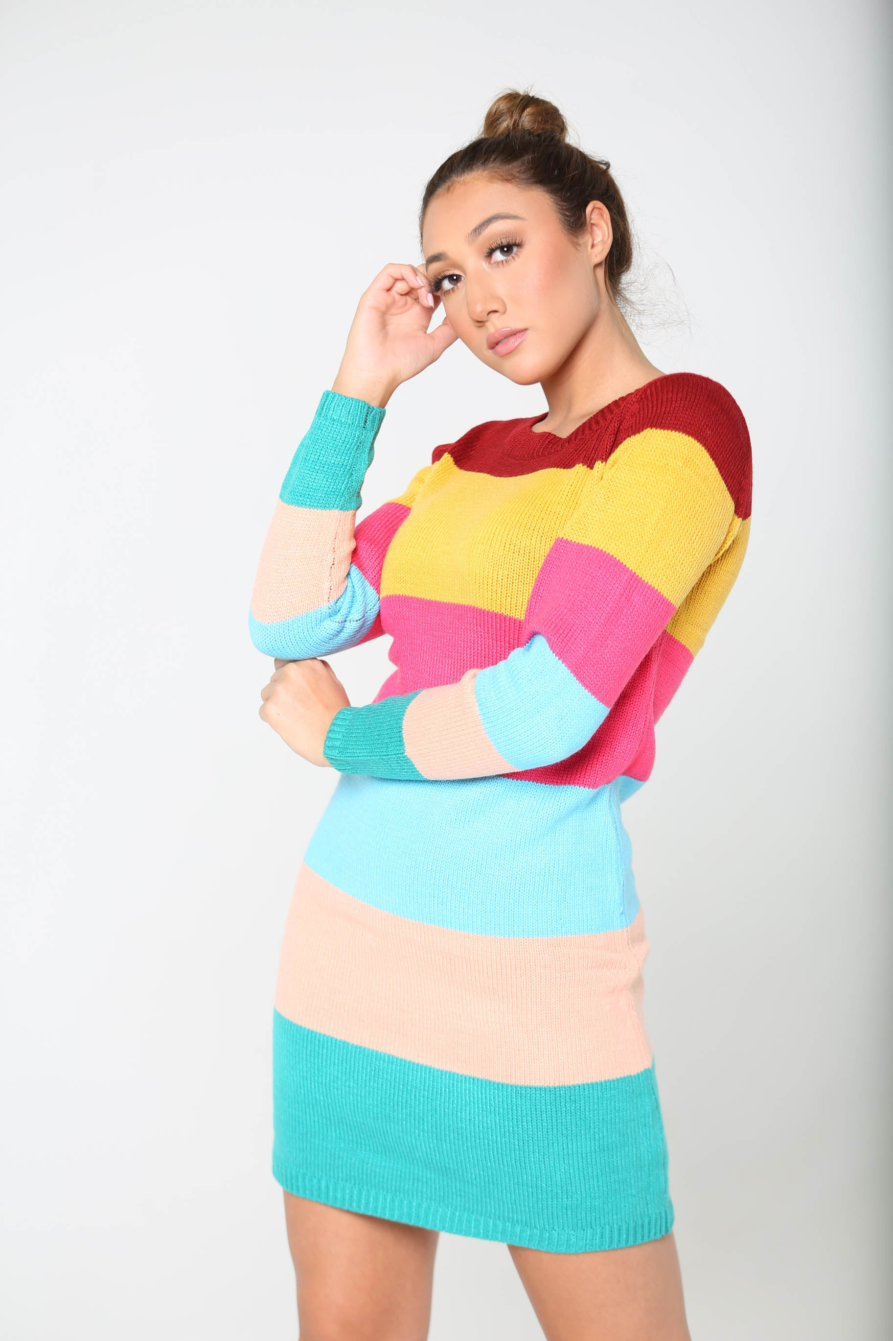 Colorful Candy Corn Sweater Dress - The Flawless Babe Boutique