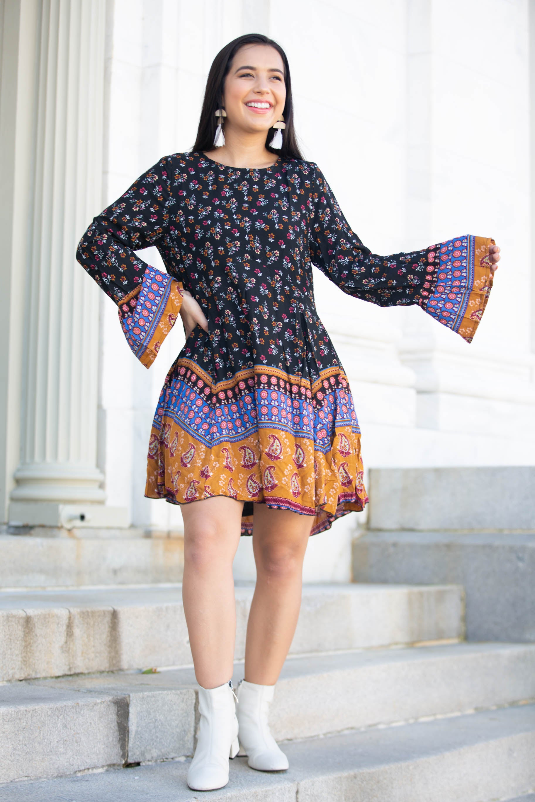 Autumn Nights Multi-Patterned Dress - The Flawless Babe Boutique