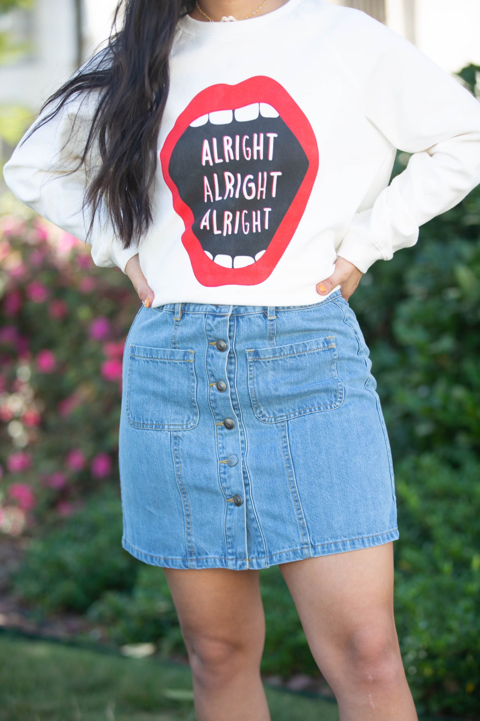Friends Button Up Light Denim Skirt - The Flawless Babe Boutique