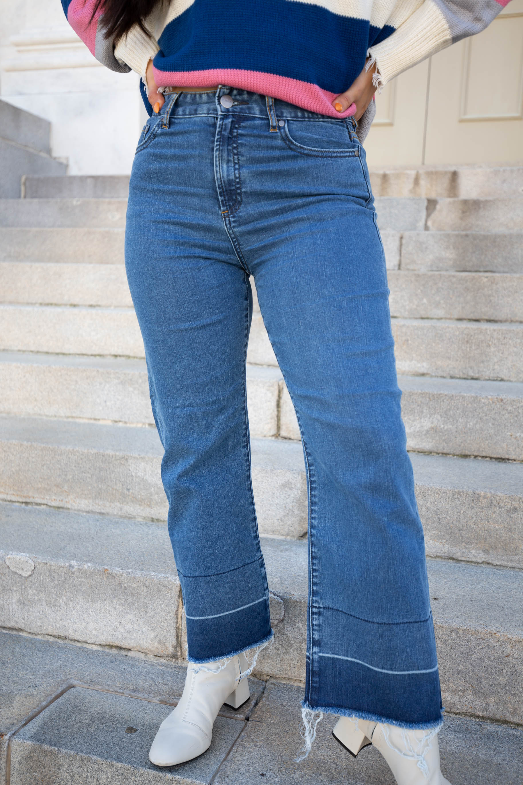 Greenwich Wide Leg Denim Bottoms - The Flawless Babe Boutique