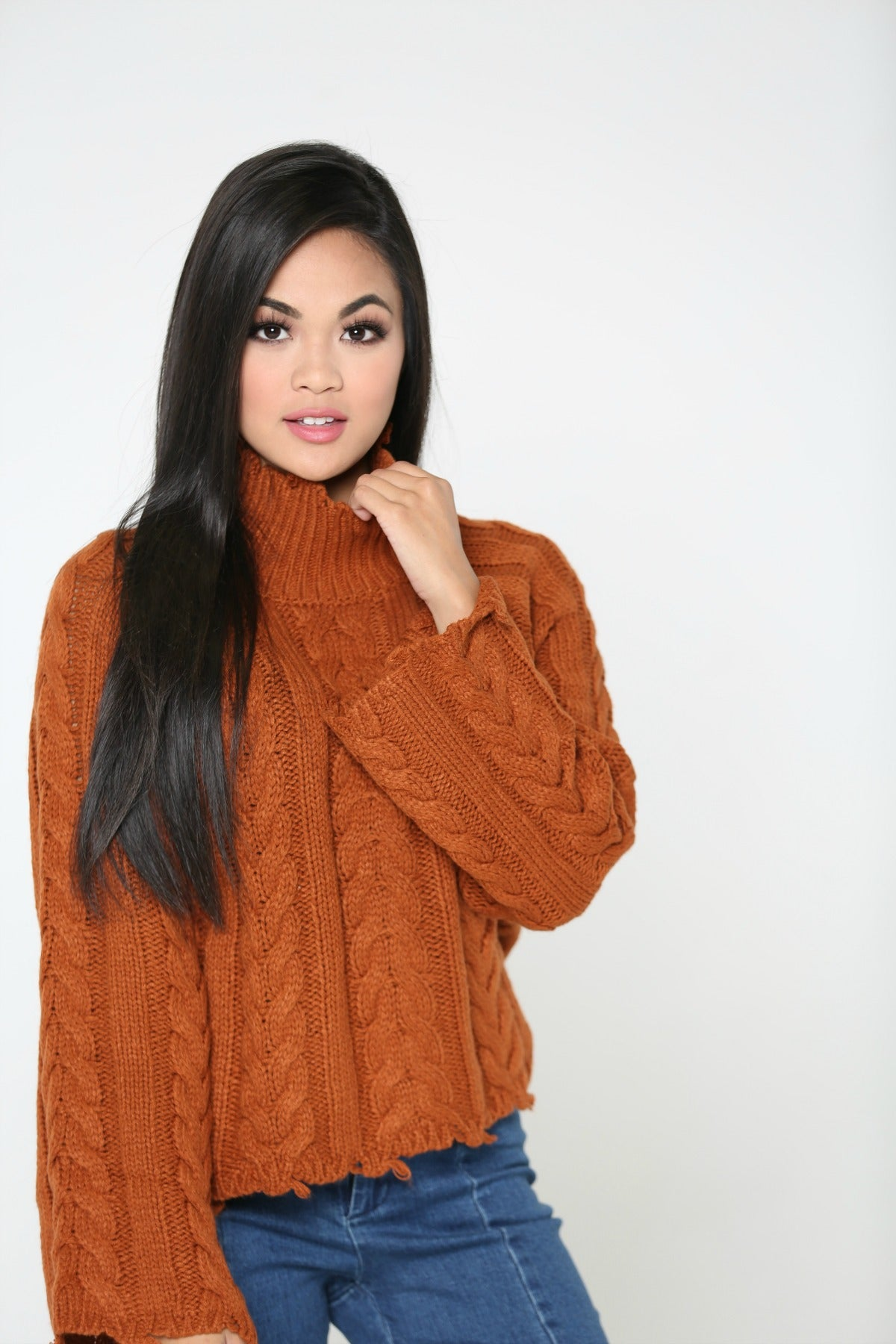 Cool Fall Nights Turtleneck Cropped Knit Sweater - The Flawless Babe Boutique