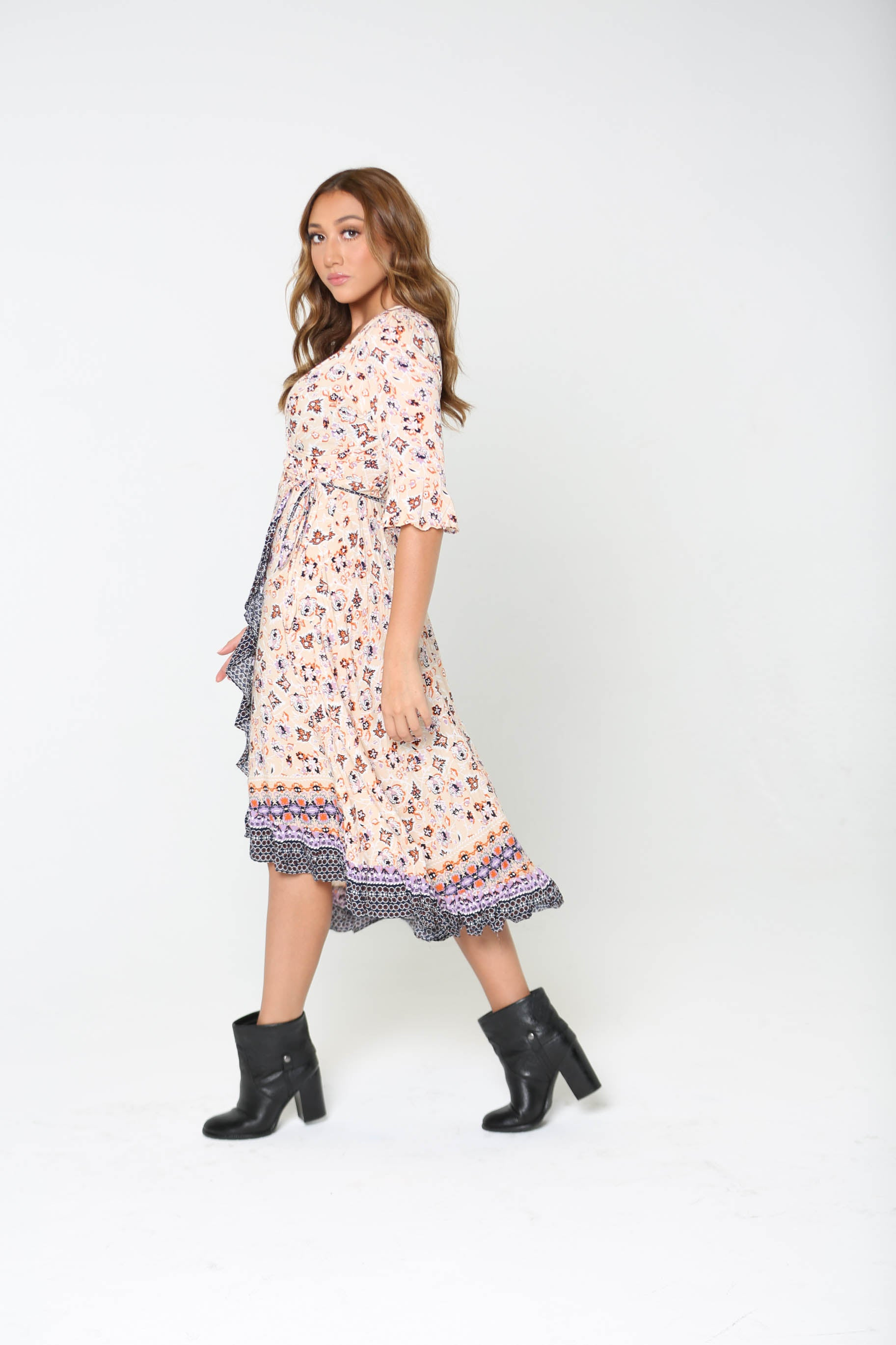 Pumpkin Patch Multi-Patterned Wrap Dress - The Flawless Babe Boutique