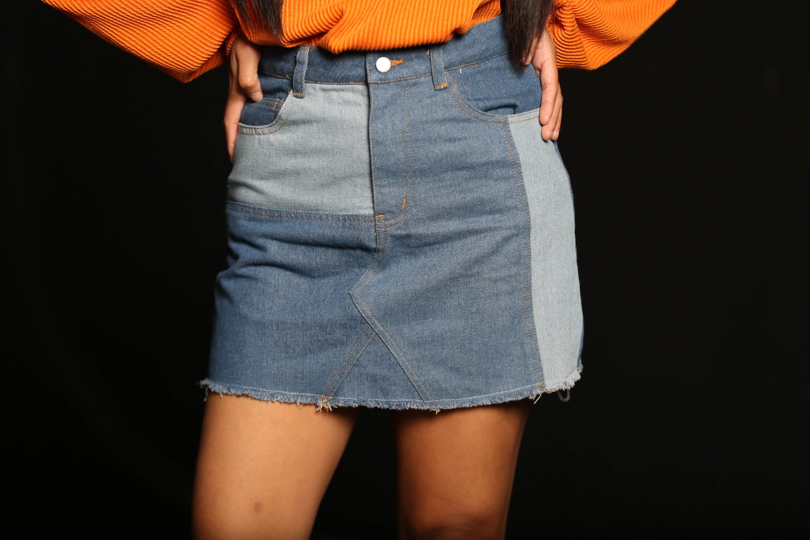 Patchwork Babe Denim Skirt - The Flawless Babe Boutique