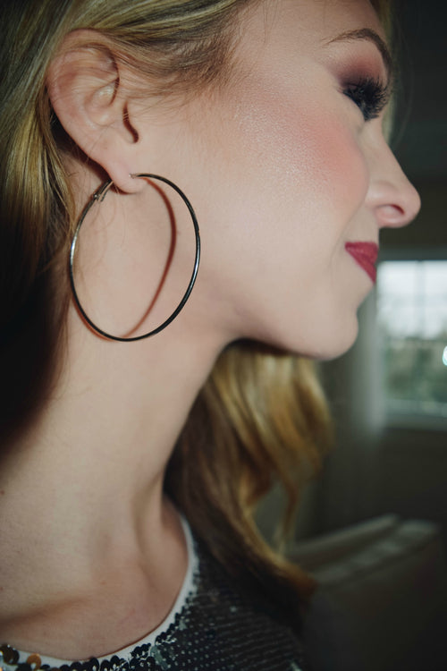 Disco Nights Silver Hoop Earring - The Flawless Babe Boutique