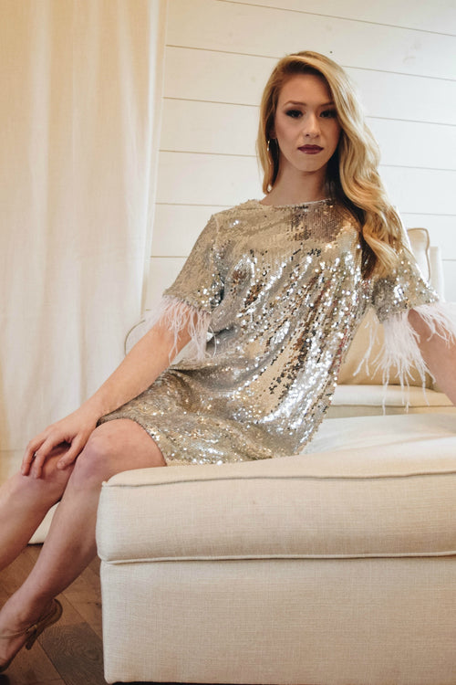 Dancing Queen Silver Fringe and Sequin Dress