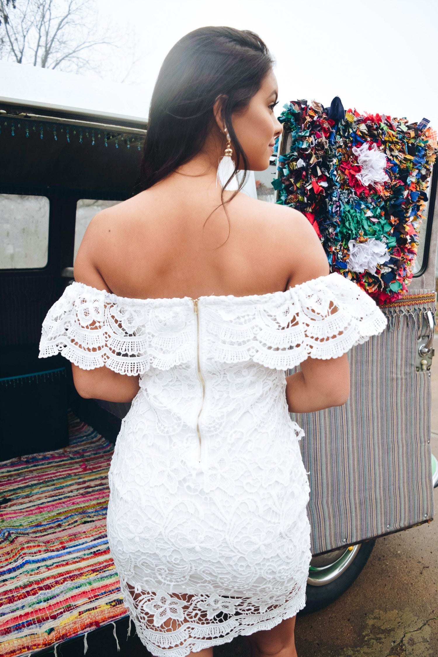 Marilyn Lace Off the Shoulder Dress - The Flawless Babe Boutique