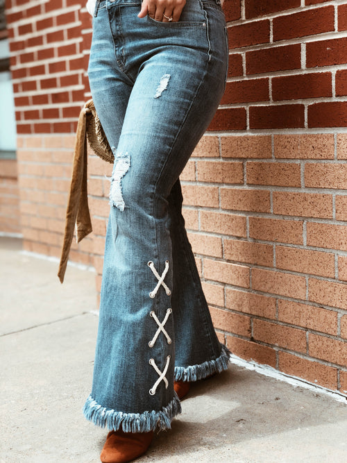 All Tied Up Denim Fringe Jeans