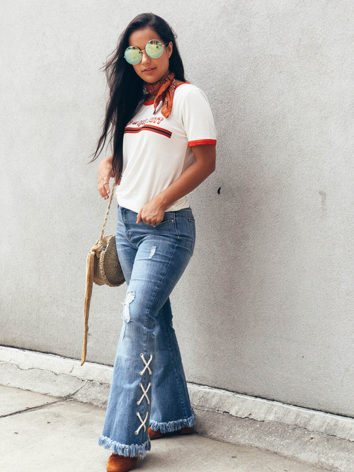 All Tied Up Denim Fringe Jeans - The Flawless Babe Boutique