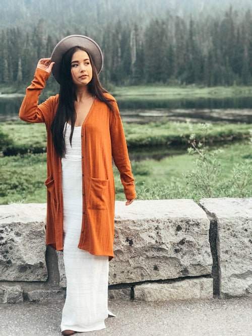 Pumpkin Spice Duster Cardigan - The Flawless Babe Boutique