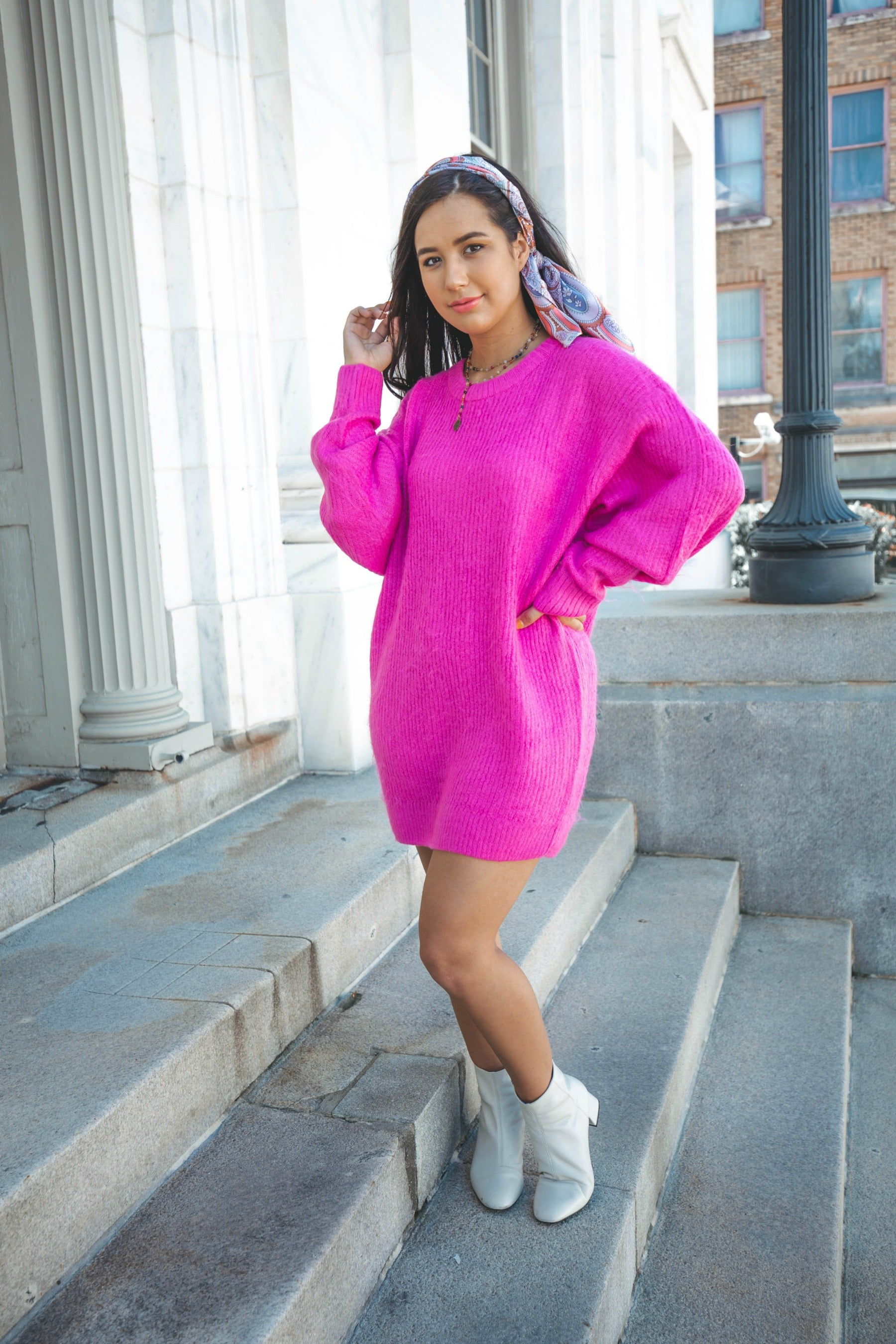 Barbie Girl Hot Pink Sweater Dress - The Flawless Babe Boutique