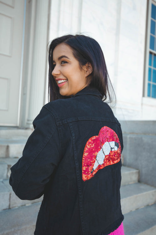 Like A Rolling Stone Lips Denim Jacket - The Flawless Babe Boutique
