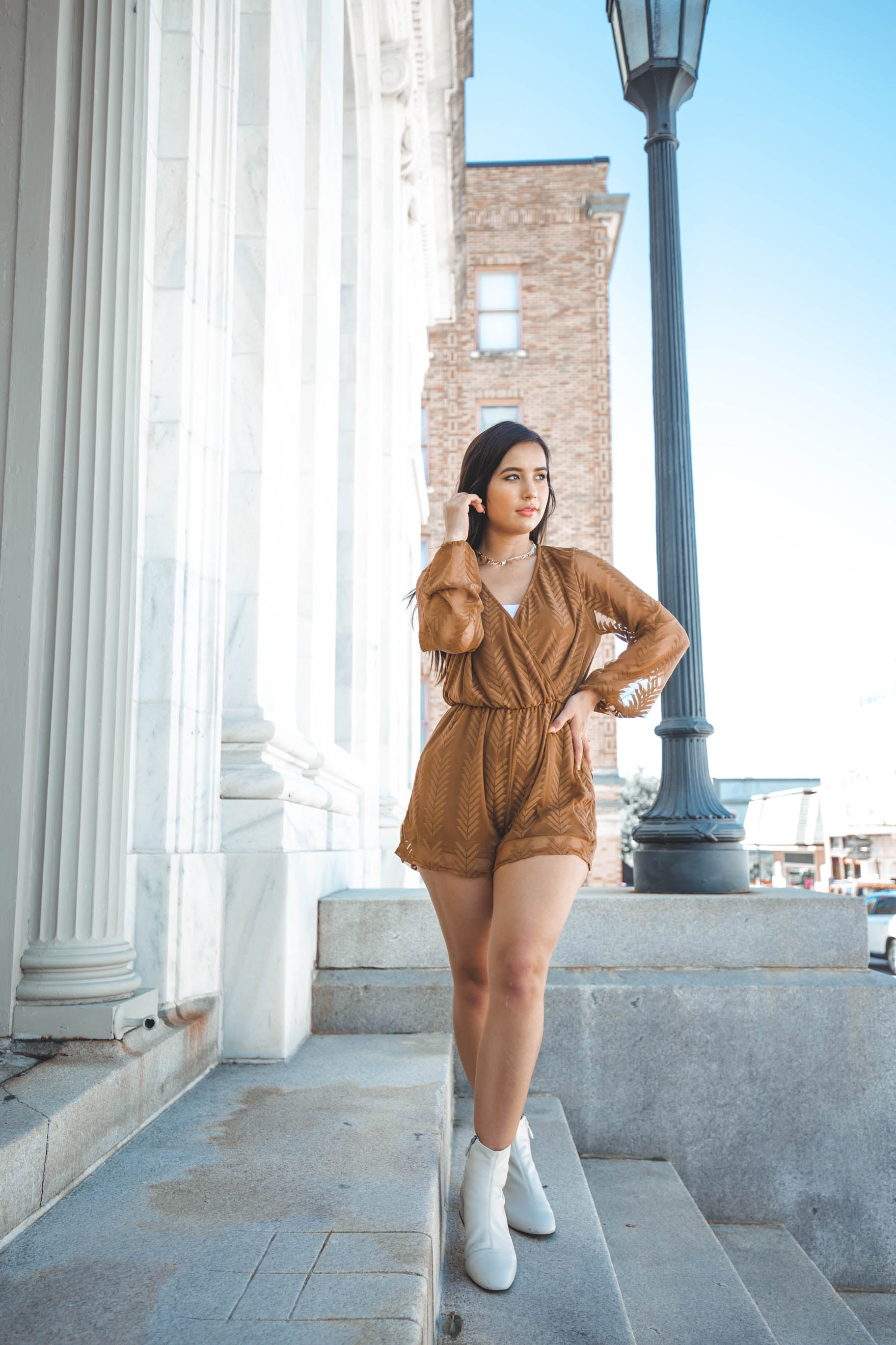 Falling Leaves Mesh Romper - The Flawless Babe Boutique