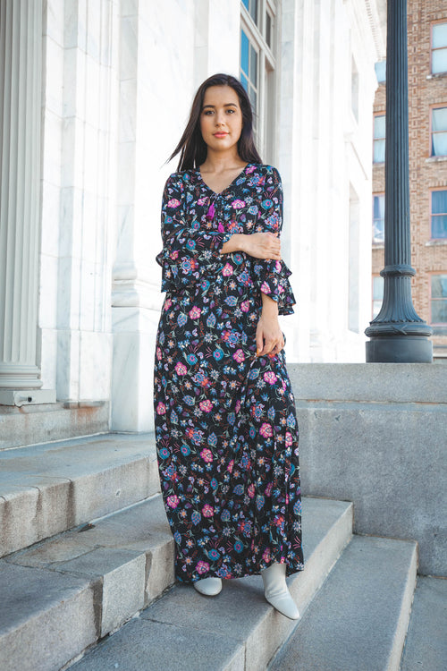 Sabrina Floral Bell Sleeve Maxi Dress - The Flawless Babe Boutique