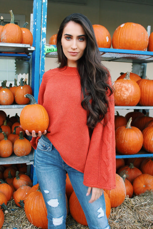 Pumpkin Dreams Knit Bell Sleeve Sweater - The Flawless Babe Boutique