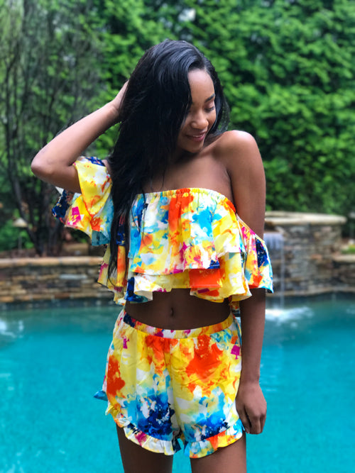Watercolor Waterfall Top - The Flawless Babe Boutique