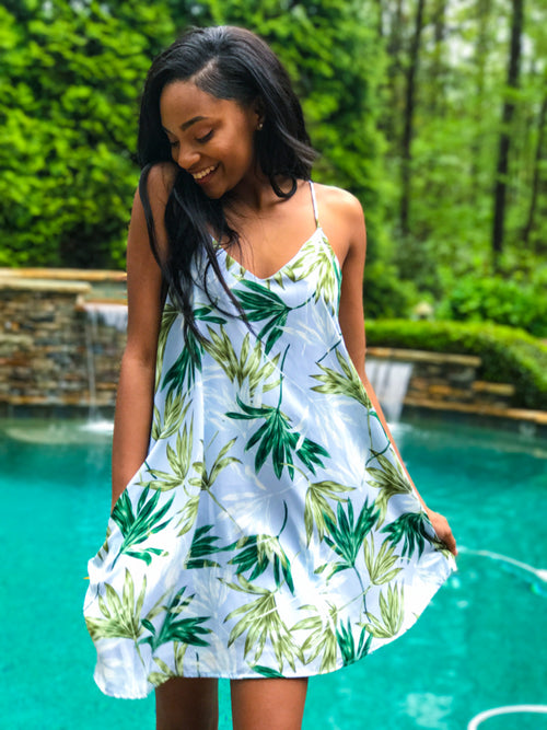 Palm Tree Paradise Dress - The Flawless Babe Boutique