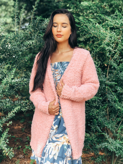 Cozy Sunrise Mauve Pink Cardigan
