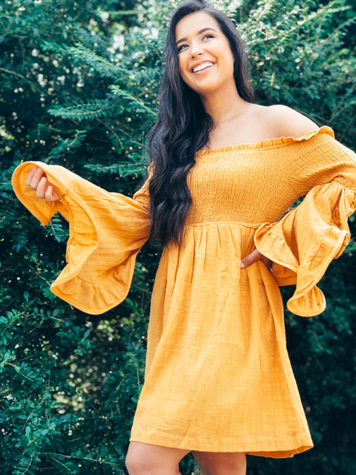 Autumn Leaves Bell Sleeve Dress - The Flawless Babe Boutique