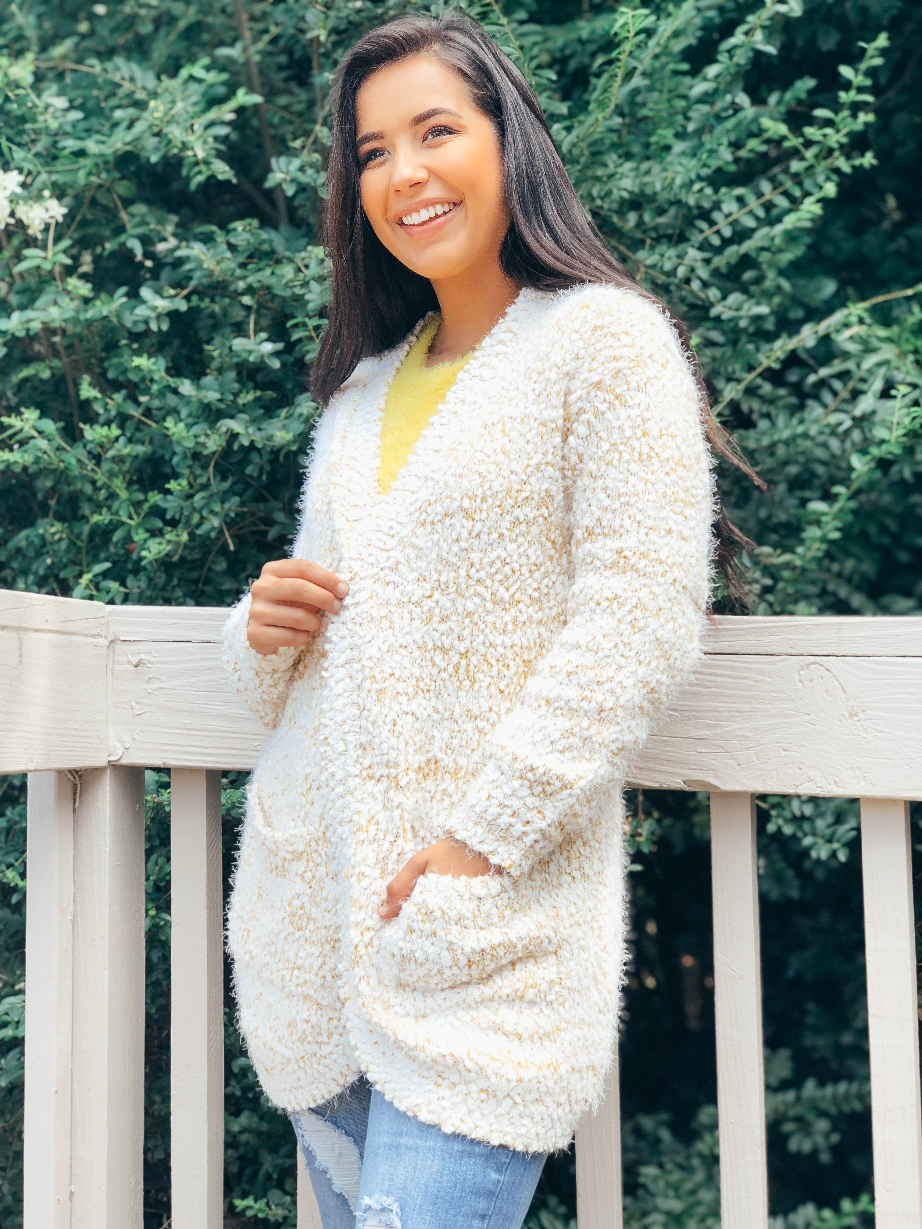 Roasted Popcorn Fuzzy Cardigan - The Flawless Babe Boutique
