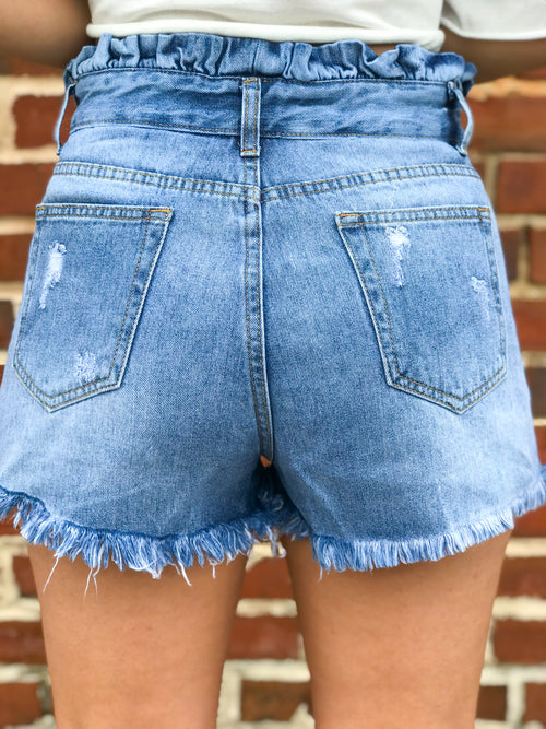 American Girl High Waisted Distressed Shorts - The Flawless Babe Boutique