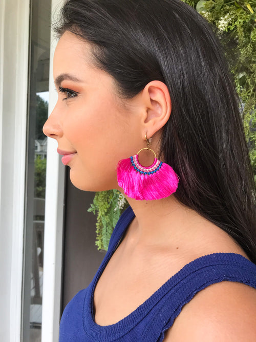 Glamour Girl Hot Pink Earrings - The Flawless Babe Boutique