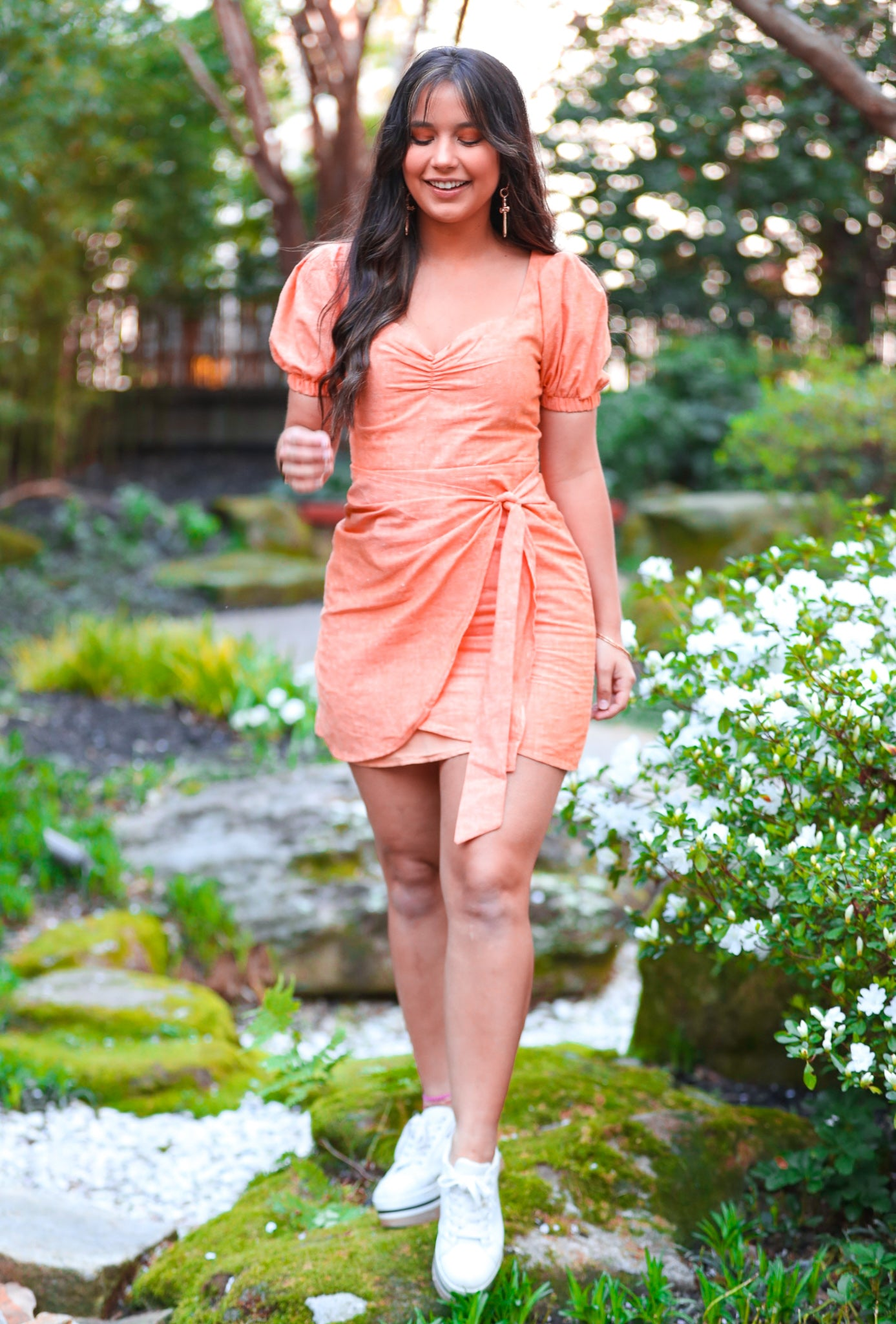 Orange Sherbert Wrap Skirt Dress