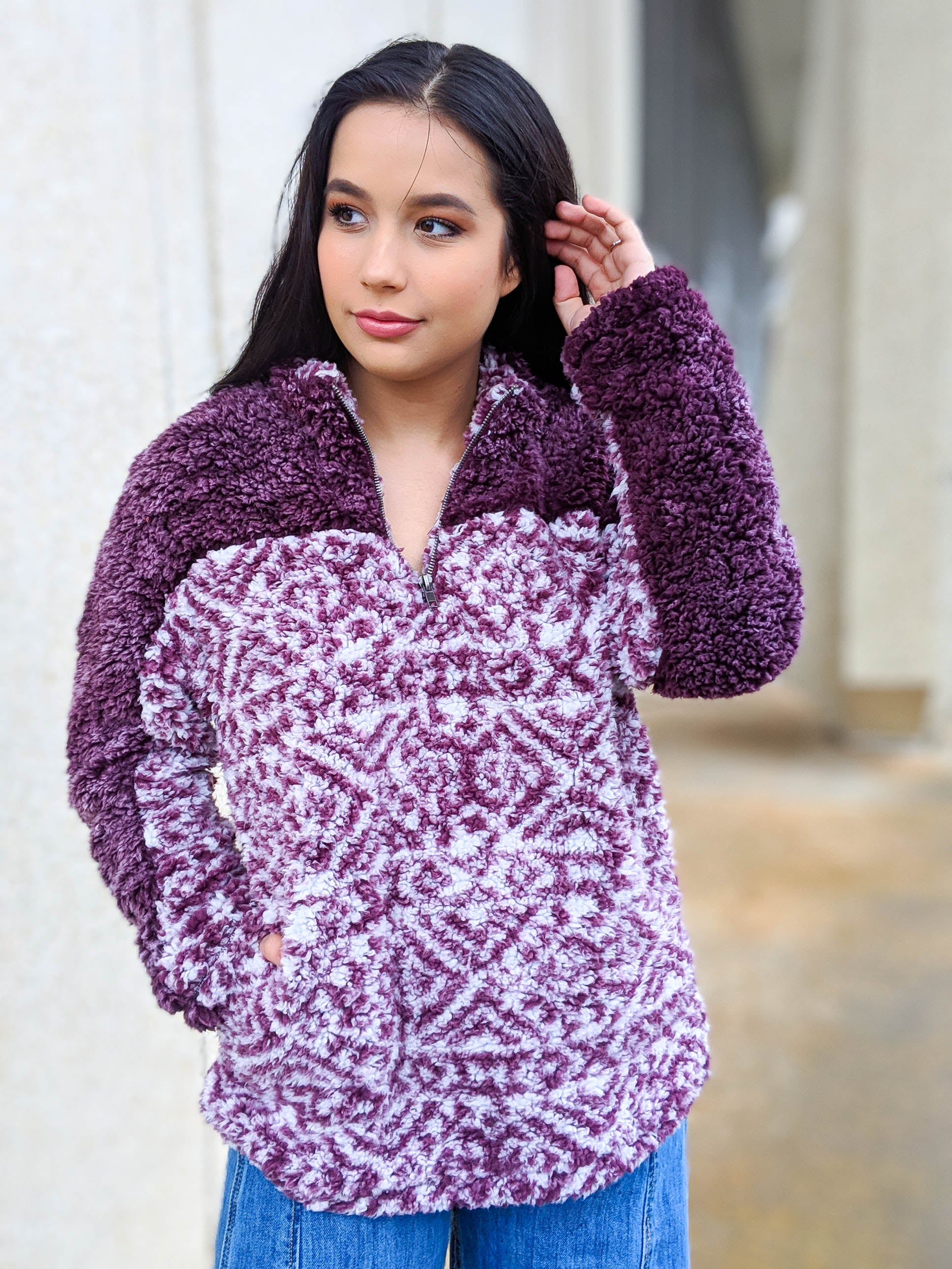 Work And Chill Multi-toned Sherpa Pullover - The Flawless Babe Boutique