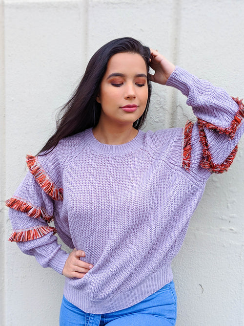 Working For The Weekend Fringe Ruffle Sleeve Sweater
