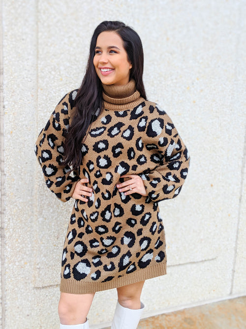 Girls Just Wanna Have Fun Leopard Turtleneck Sweater Dress