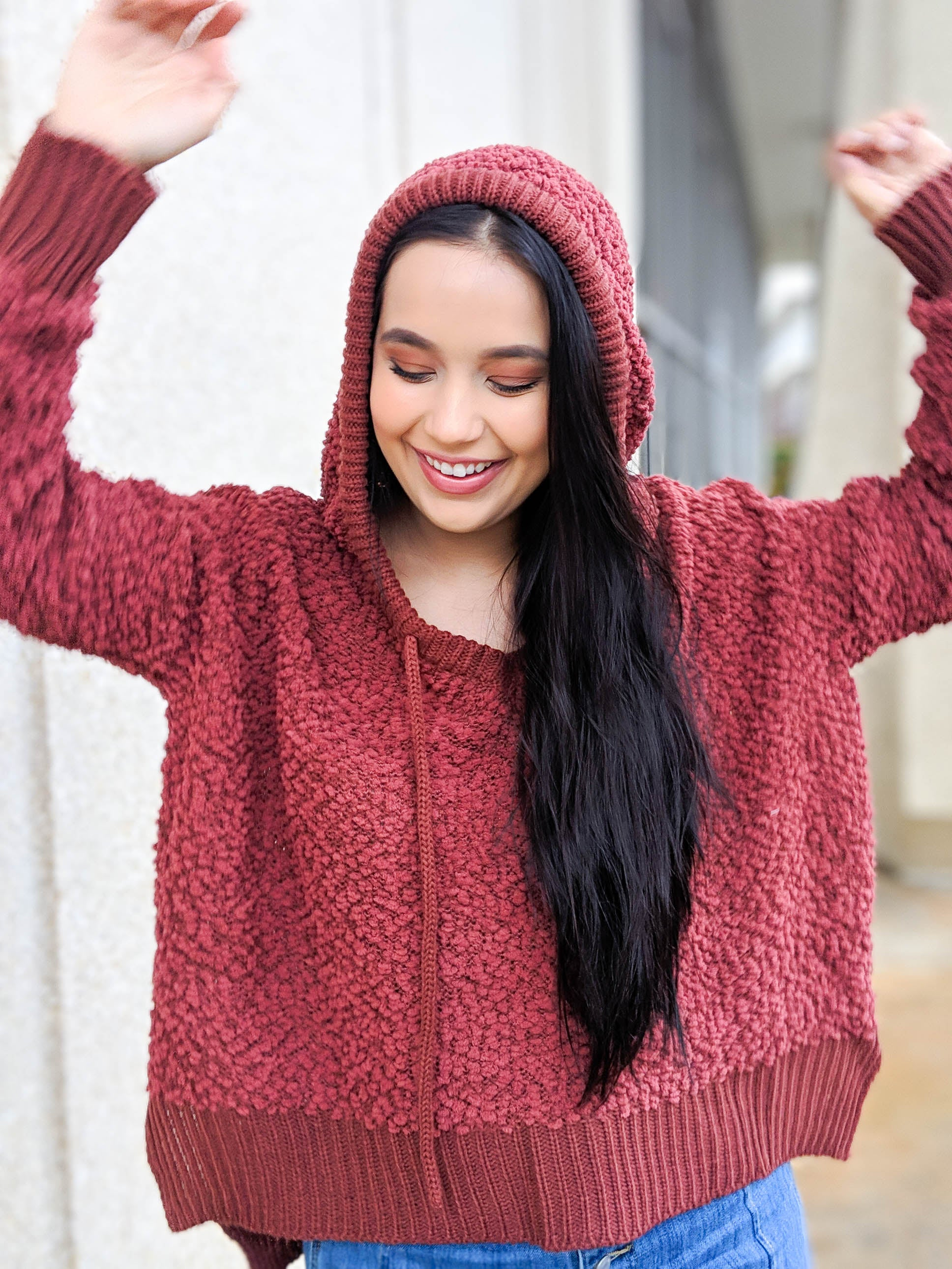 Fired Up For The New Year Popcorn Knit Hoodie - The Flawless Babe Boutique