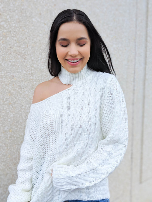 A New Way One Shoulder Choker Sweater - The Flawless Babe Boutique