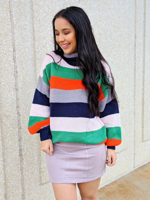 Sherbert Stripes Turtleneck Sweater