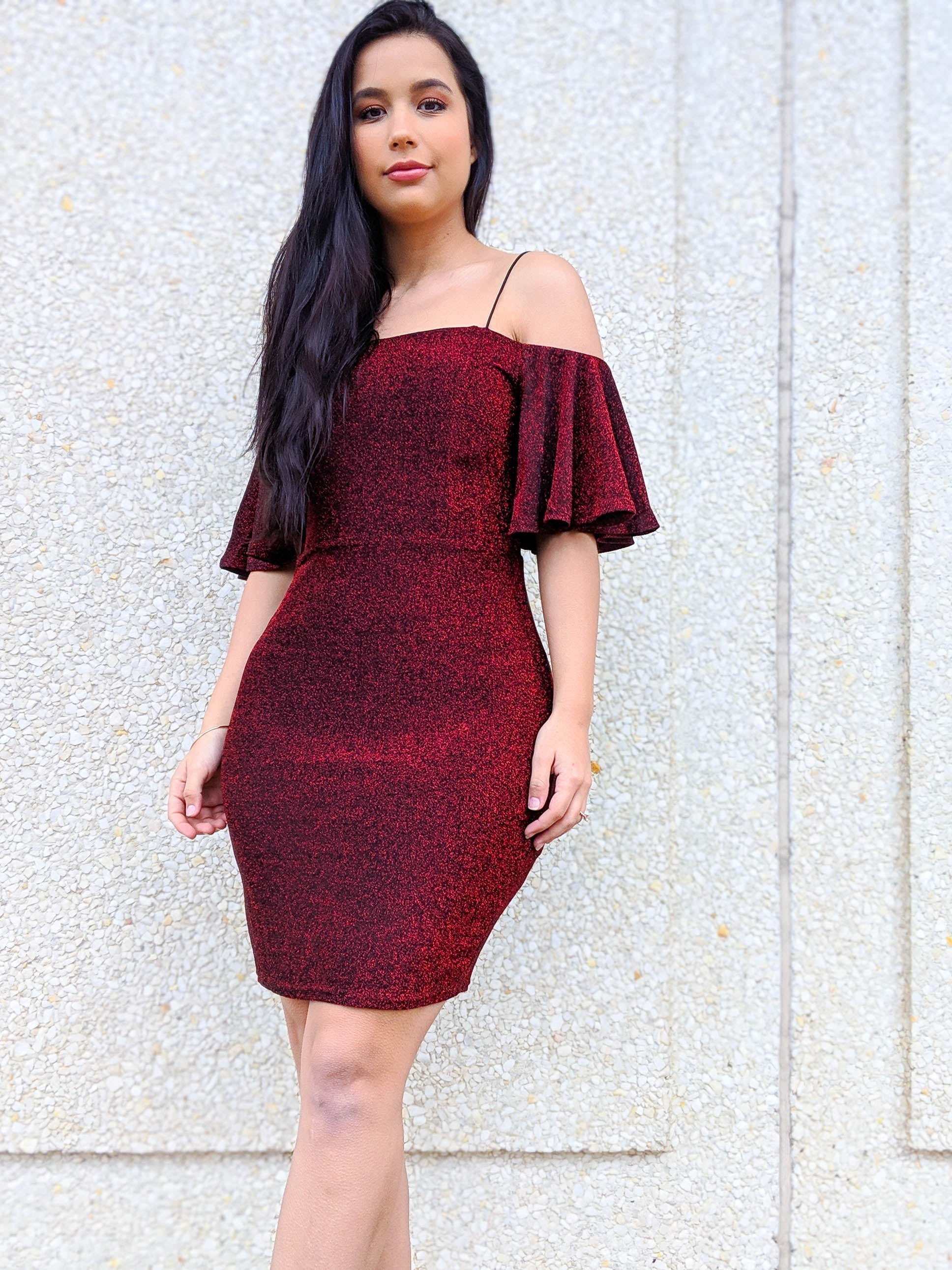 You're A Shining Star Off The Shoulder Sparkle Dress - The Flawless Babe Boutique