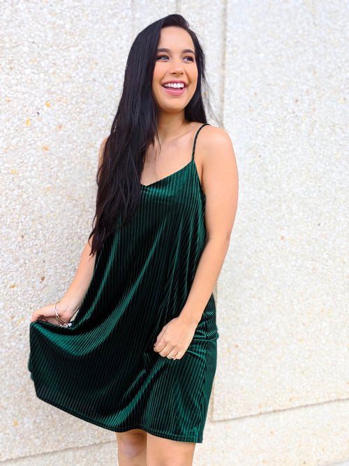 Gorgeous In Green Velvet Dress - The Flawless Babe Boutique