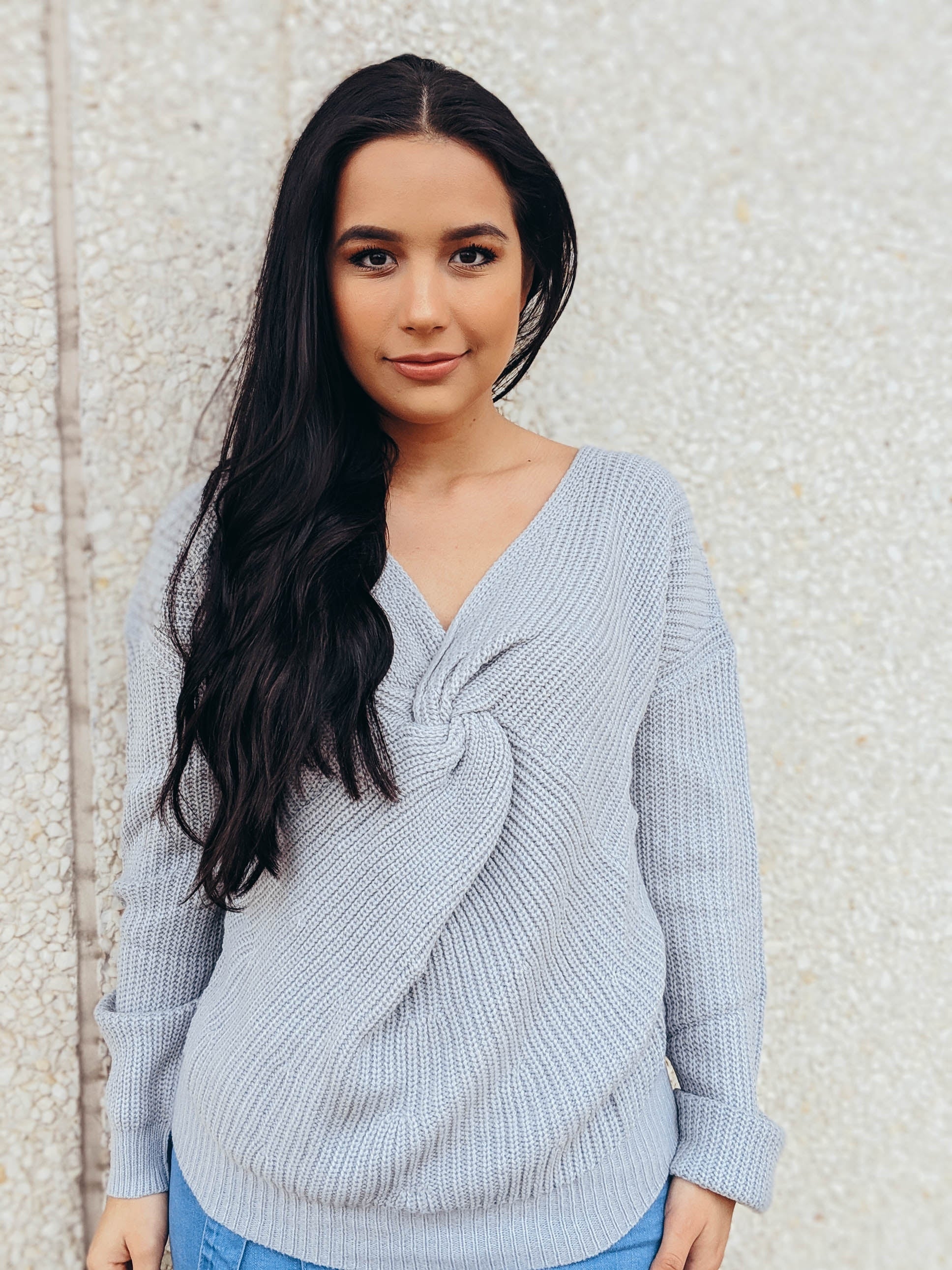 Winter Blues Knot Front Sweater
