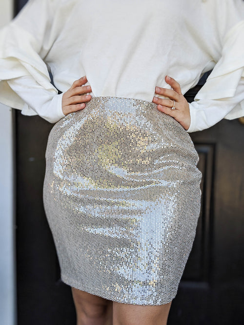 Champagne Dreams Sparkle Knit Skirt - The Flawless Babe Boutique