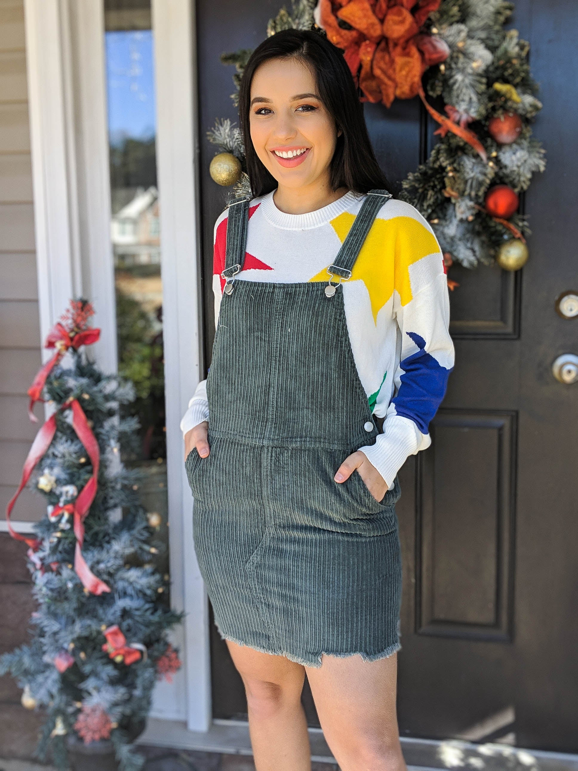 A Boho Little Christmas Corduroy Overall Dress