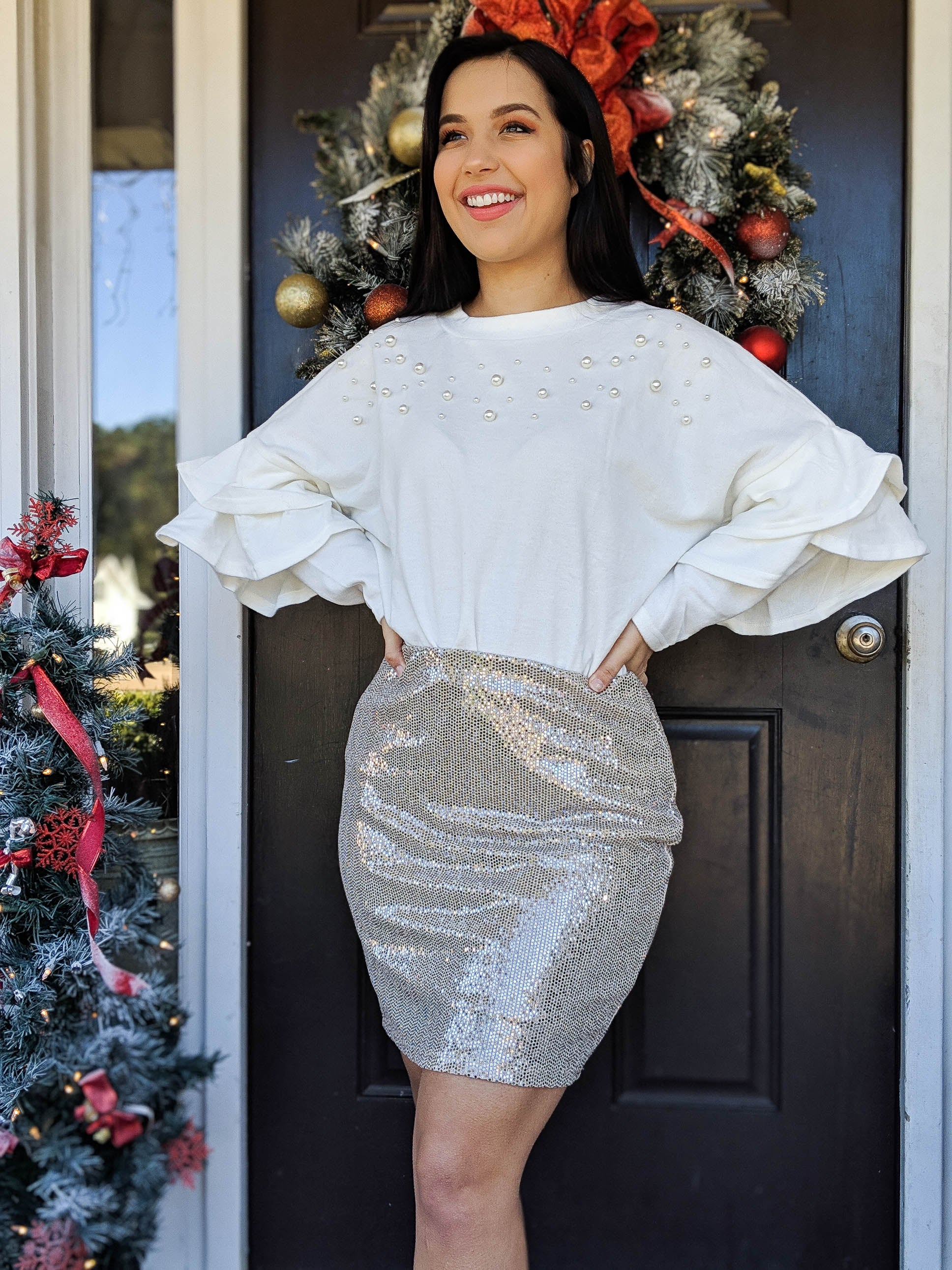 Snow Is Glistening Pearl and Ruffle Sleeve Sweater - The Flawless Babe Boutique