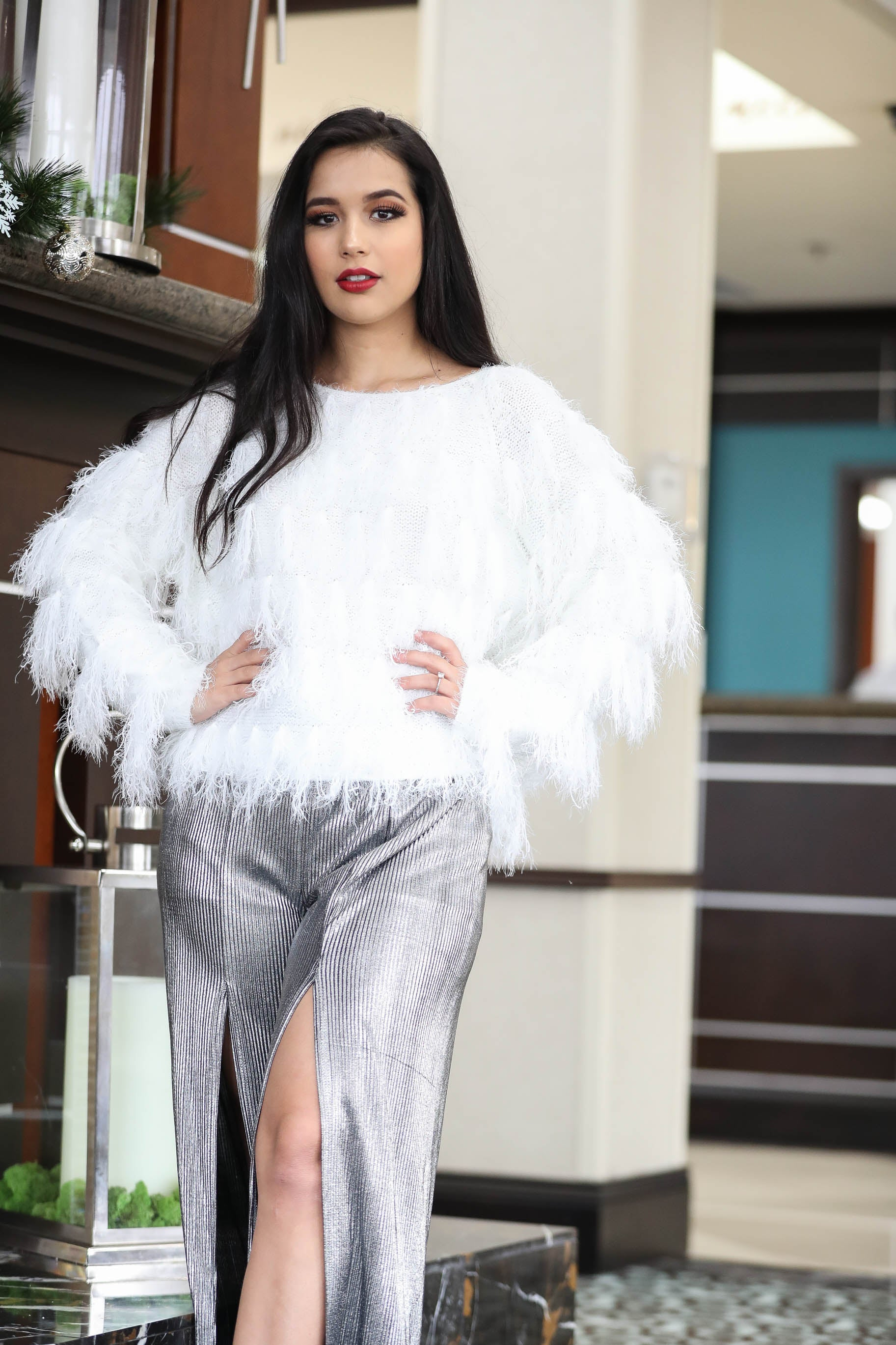 Let It Snow Fur Fringed Sweater