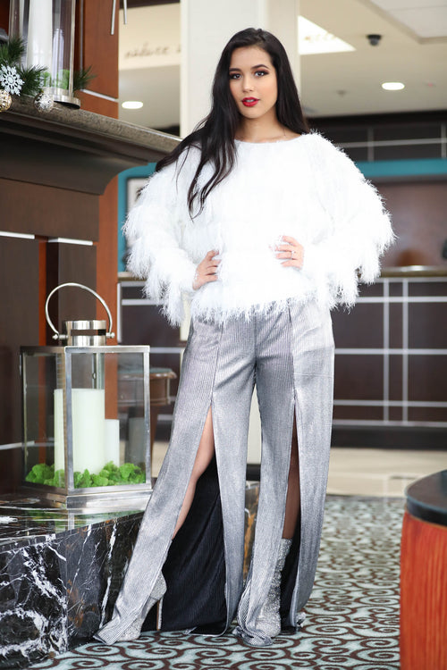 Silver and Gold Flare Pants - The Flawless Babe Boutique
