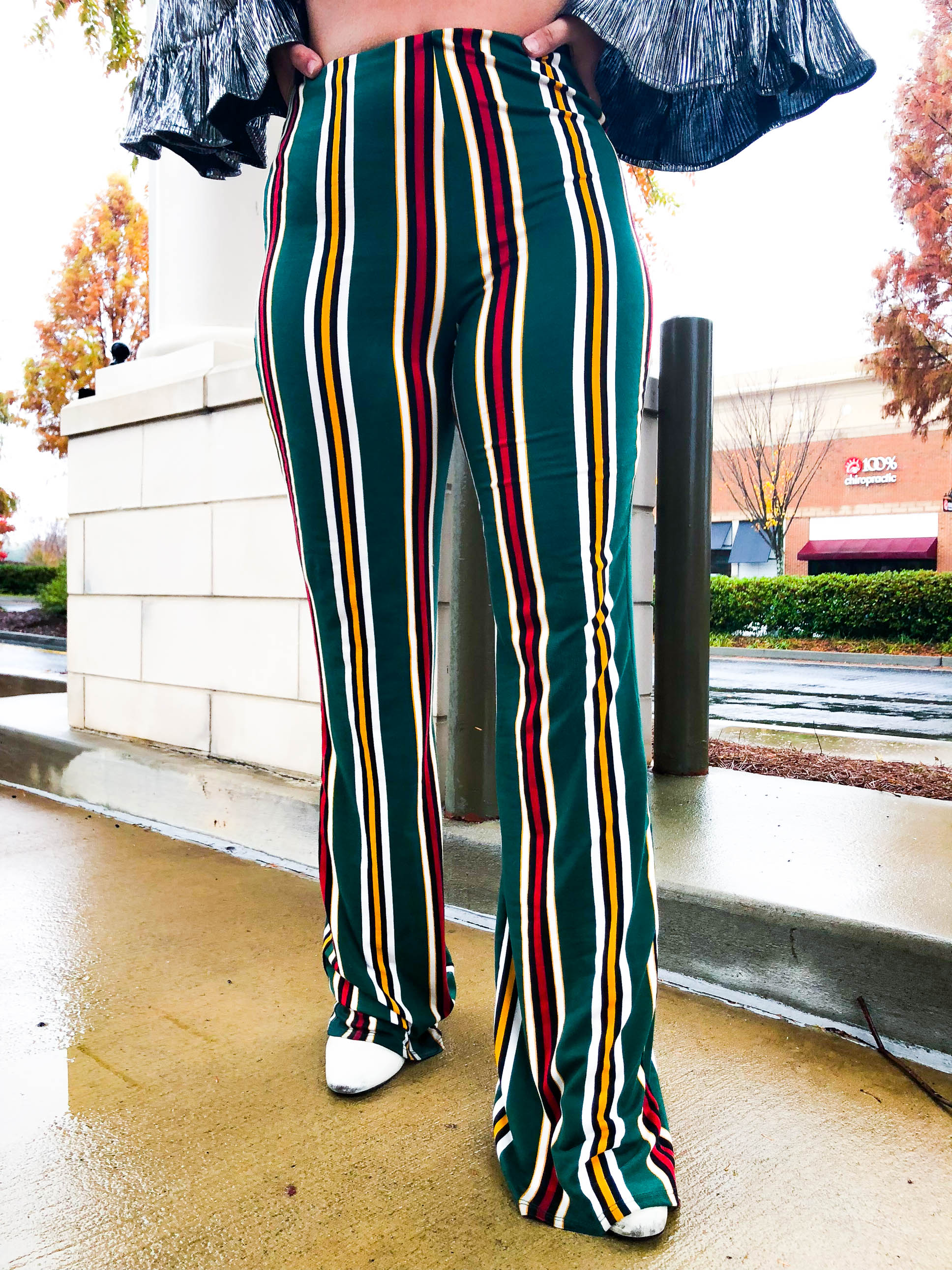 Deck The Halls Striped Bell Bottoms - The Flawless Babe Boutique