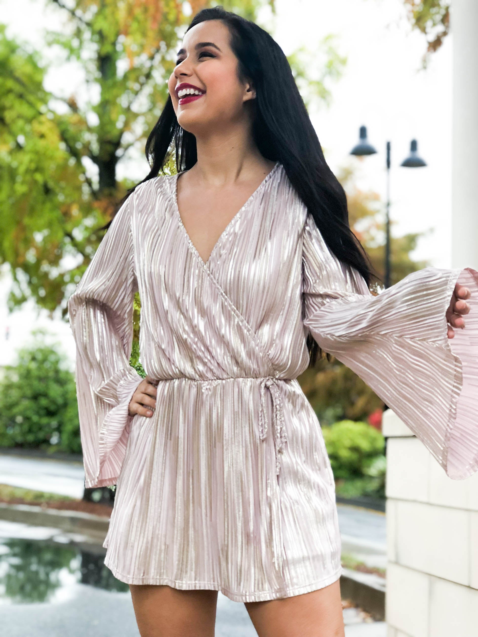 Joy To The Babes Shiny Bell Sleeve Romper