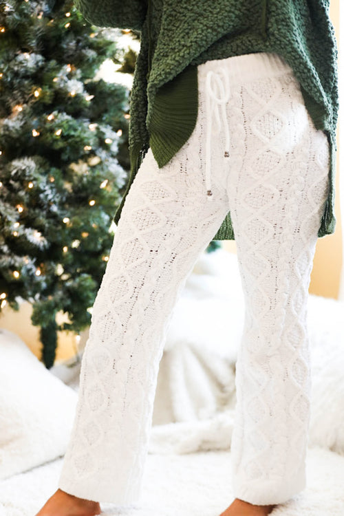 Frosted Snow White Cable Knit Fleece Pants - The Flawless Babe Boutique