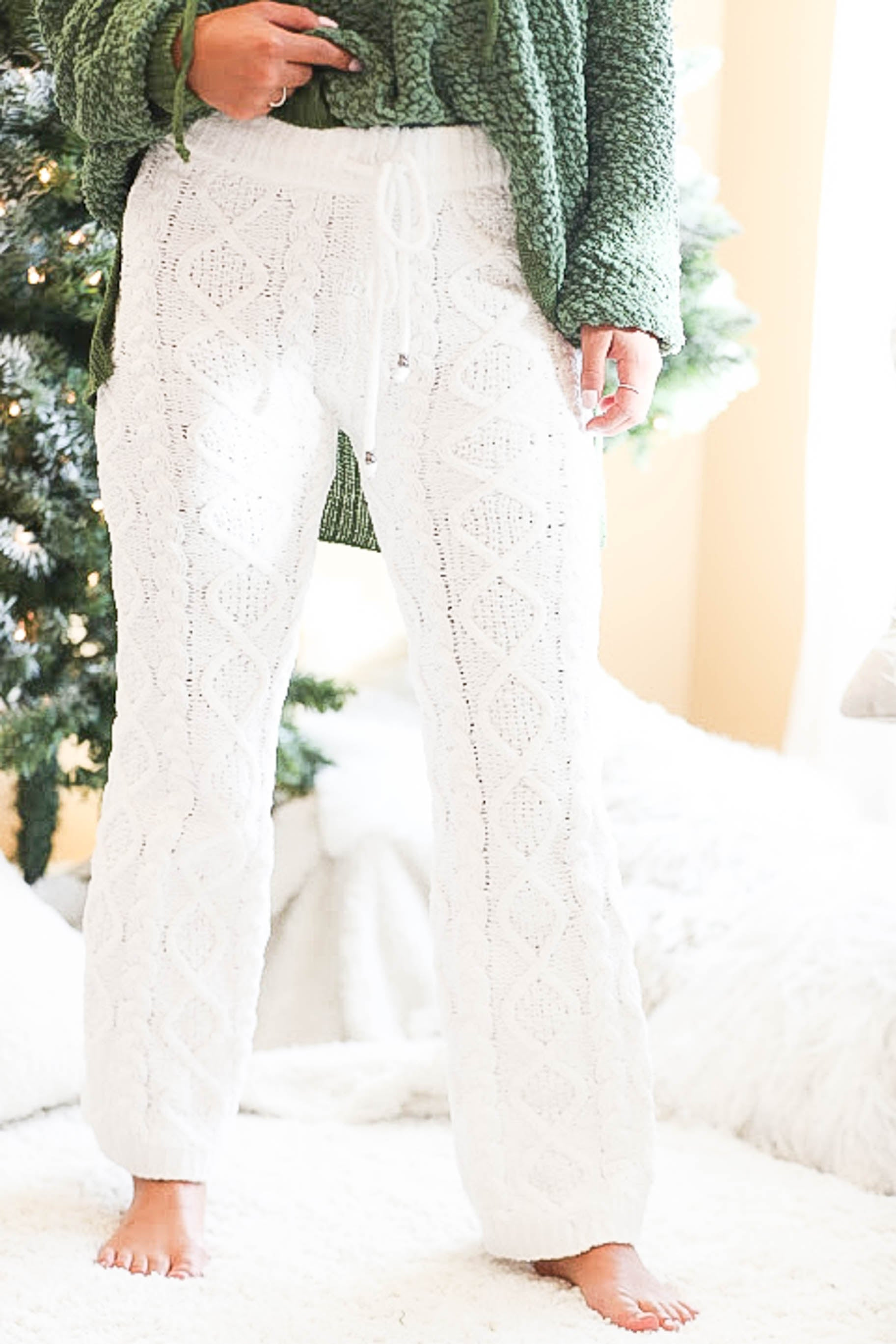 8a7a374f67 Frosted Snow White Cable Knit Fleece Pants- Flawless Babe Boutique ...