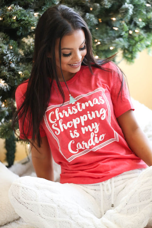 Christmas Shopping Is My Cardio Tee - The Flawless Babe Boutique