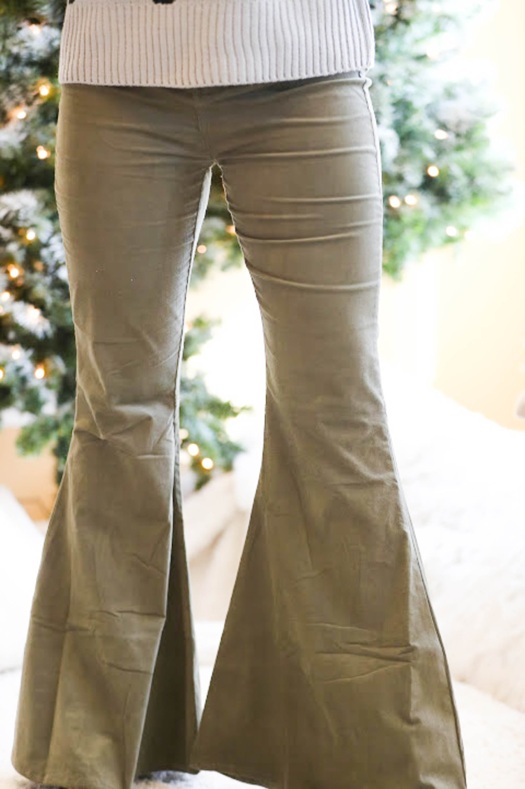Holly Jolly Christmas Corduroy Olive Flares