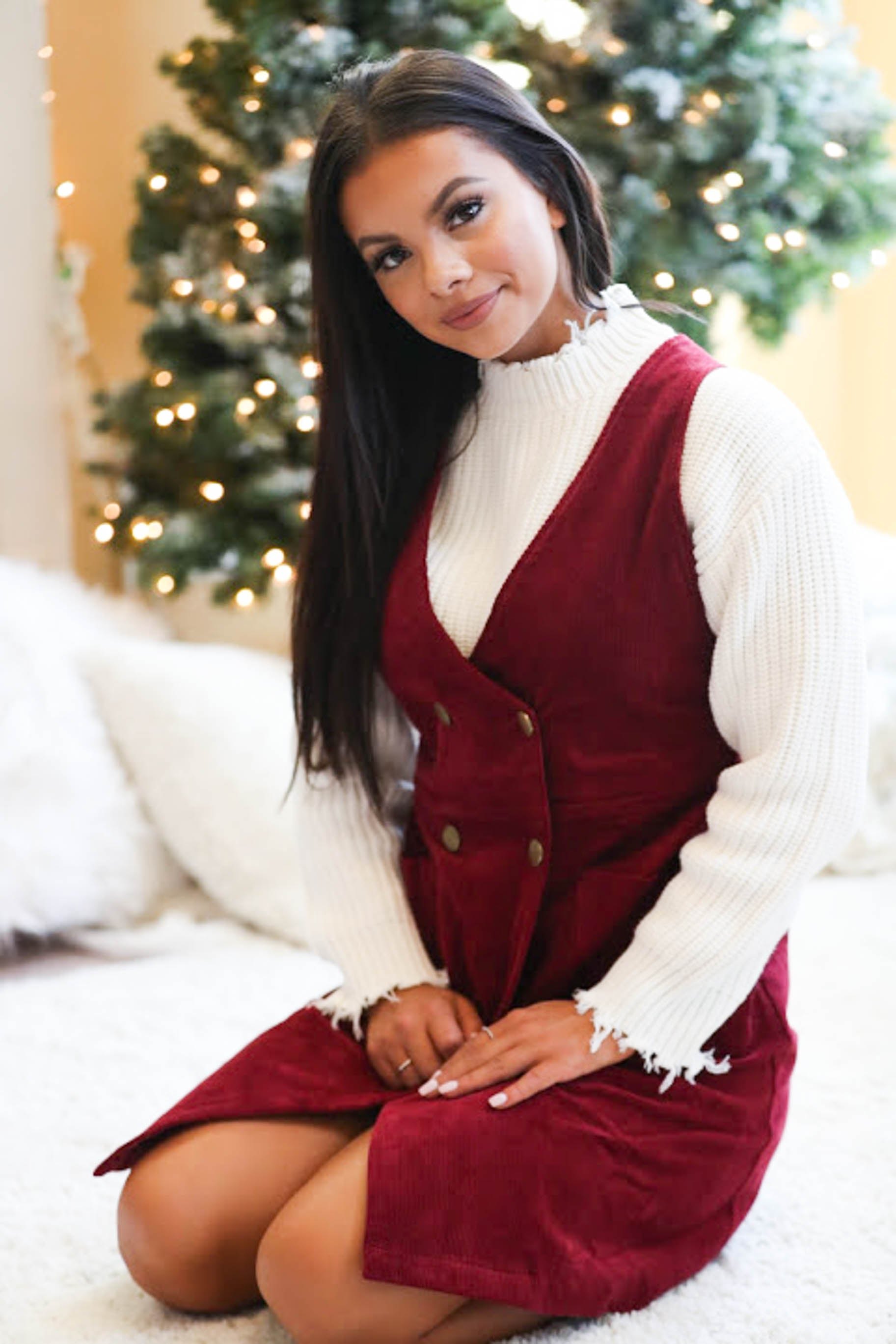 Mistletoe Nights Button Up Corduroy Overall Dress